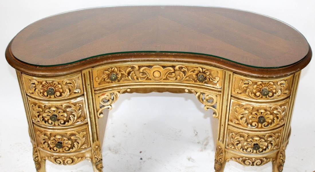 Louis XVI style painted vanity with chair - 3