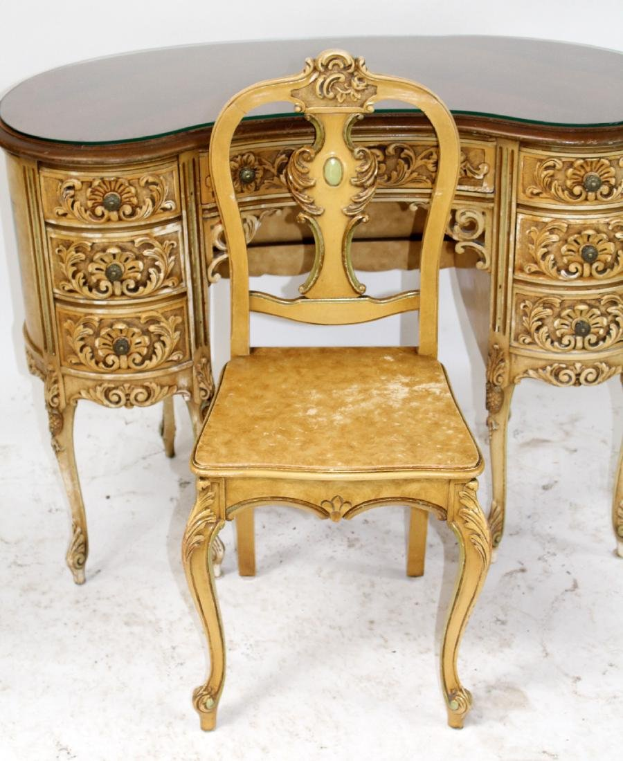 Louis XVI style painted vanity with chair - 5