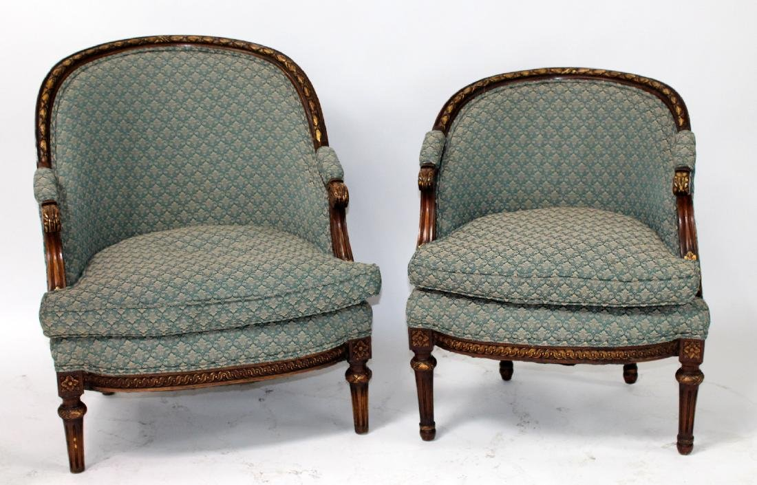 Companion pair of French curved back bergeres