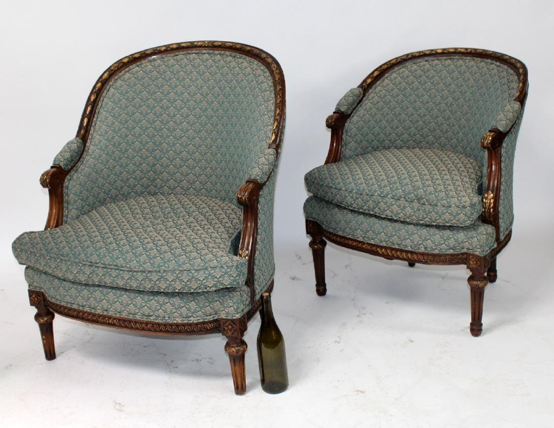 Companion pair of French curved back bergeres - 2