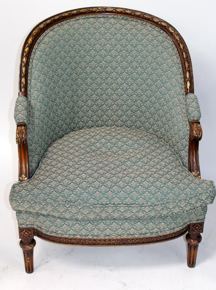 Companion pair of French curved back bergeres - 3