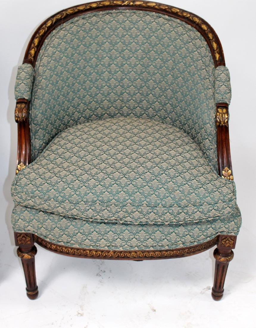 Companion pair of French curved back bergeres - 4