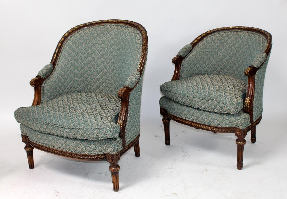 Companion pair of French curved back bergeres - 5