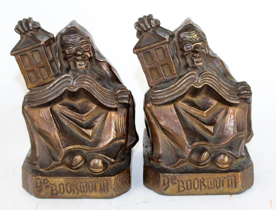 """Pair of FG Plant """"Ye Bookworm"""" bookends"""