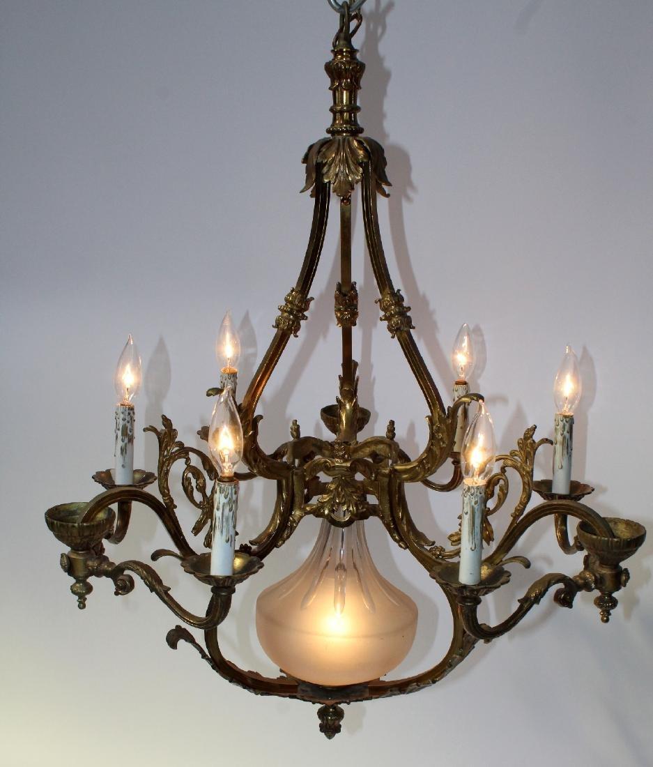 French gilt bronze 6-light chandelier - 2