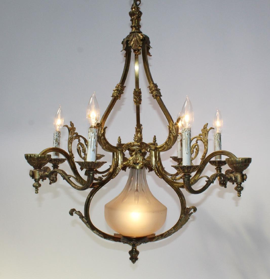 French gilt bronze 6-light chandelier - 4
