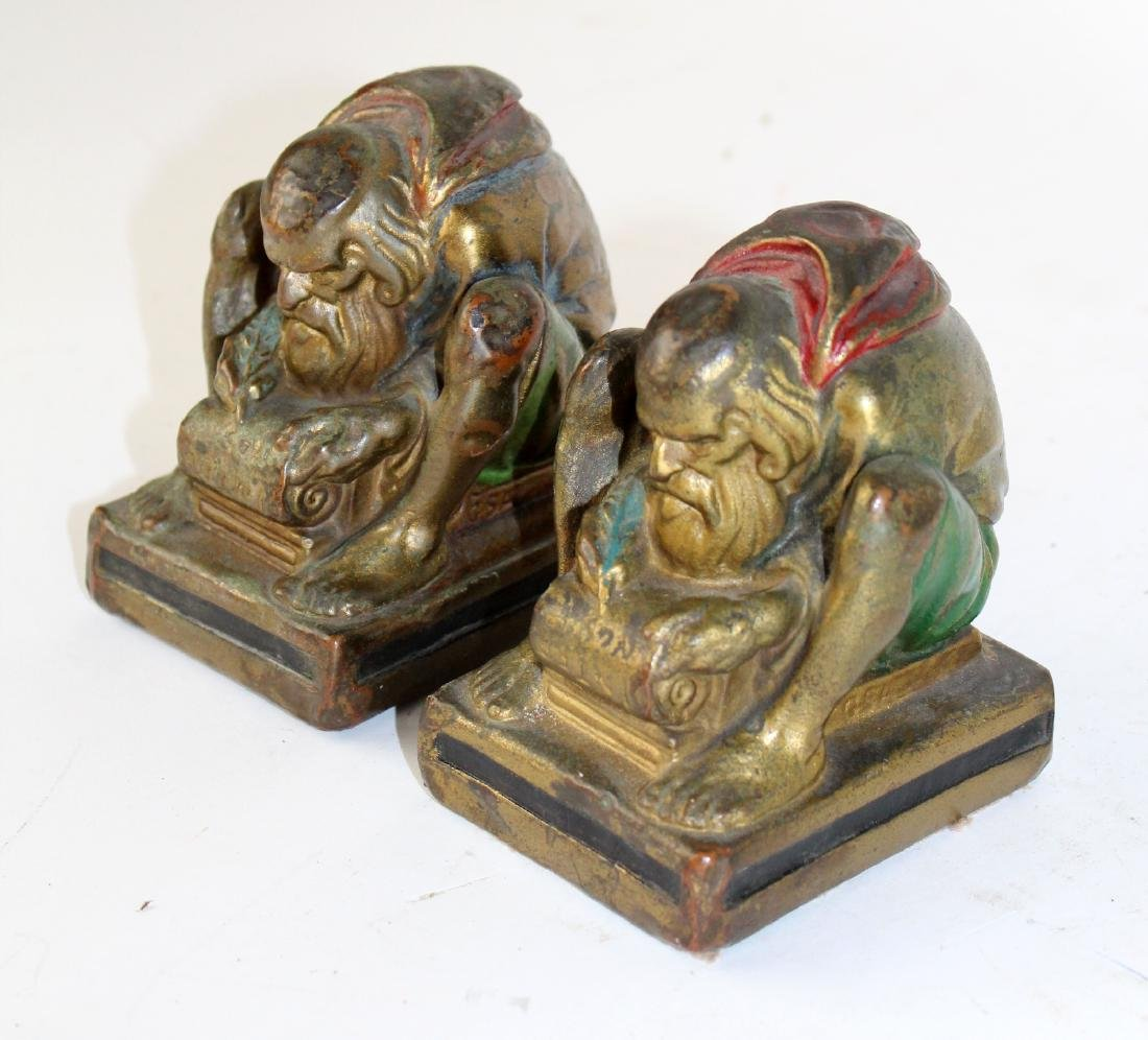 Pair of Bronze clad polychrome monk bookends - 3