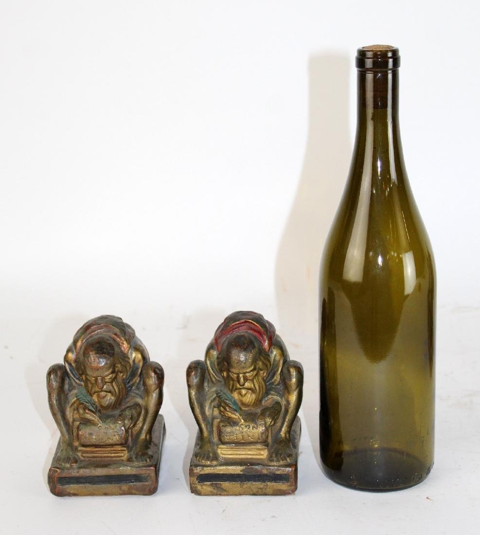 Pair of Bronze clad polychrome monk bookends - 4