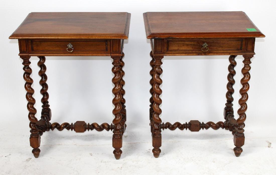 Pair French walnut barley twist side tables