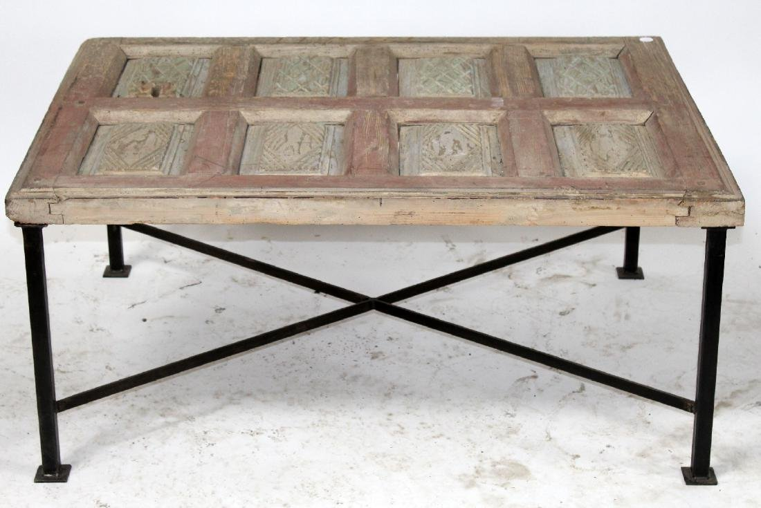 Rustic French raised panel coffee table