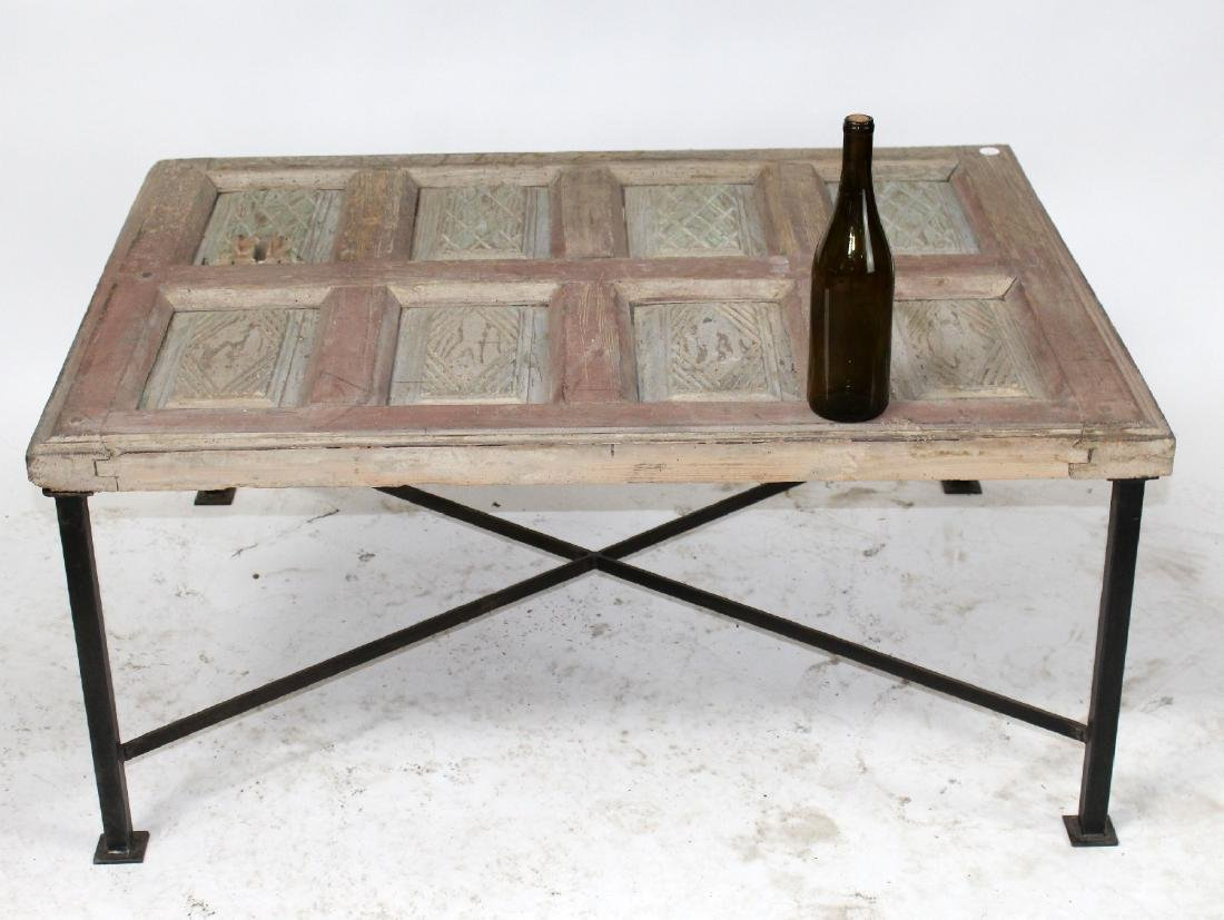 Rustic French raised panel coffee table - 2