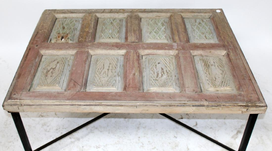 Rustic French raised panel coffee table - 3