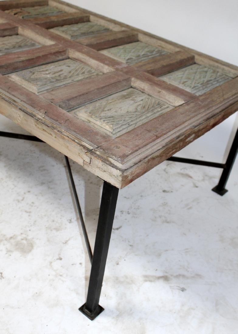 Rustic French raised panel coffee table - 4