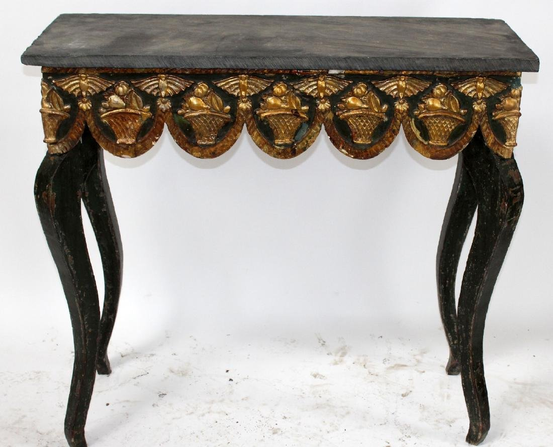 Spanish painted console table with slate top - 3