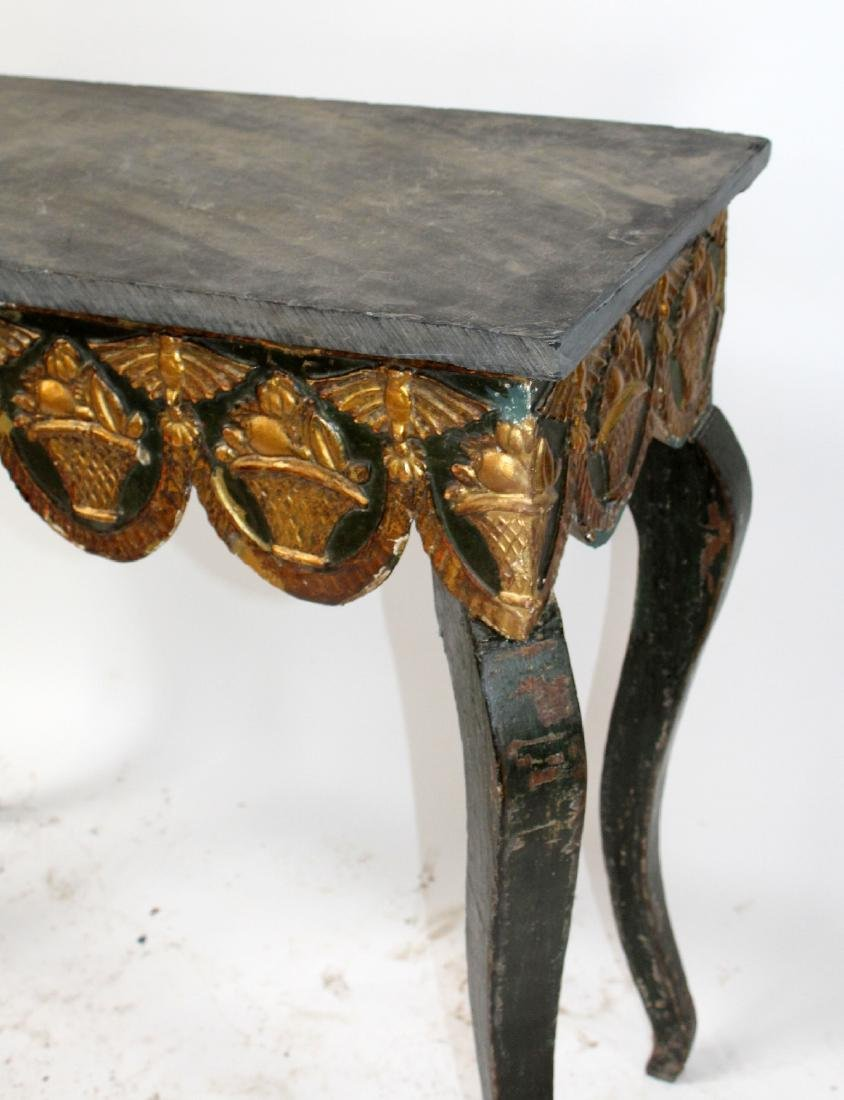 Spanish painted console table with slate top - 5