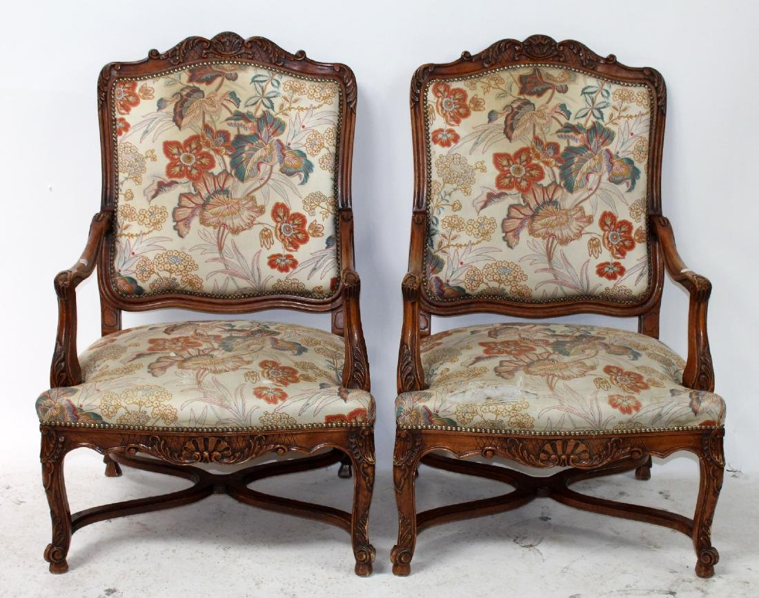 Pair of French Louis XV fauteuils