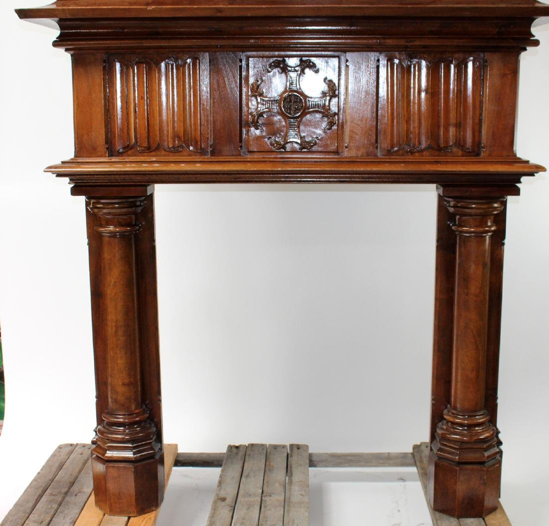 Grand scale French fireplace mantel in walnut - 5