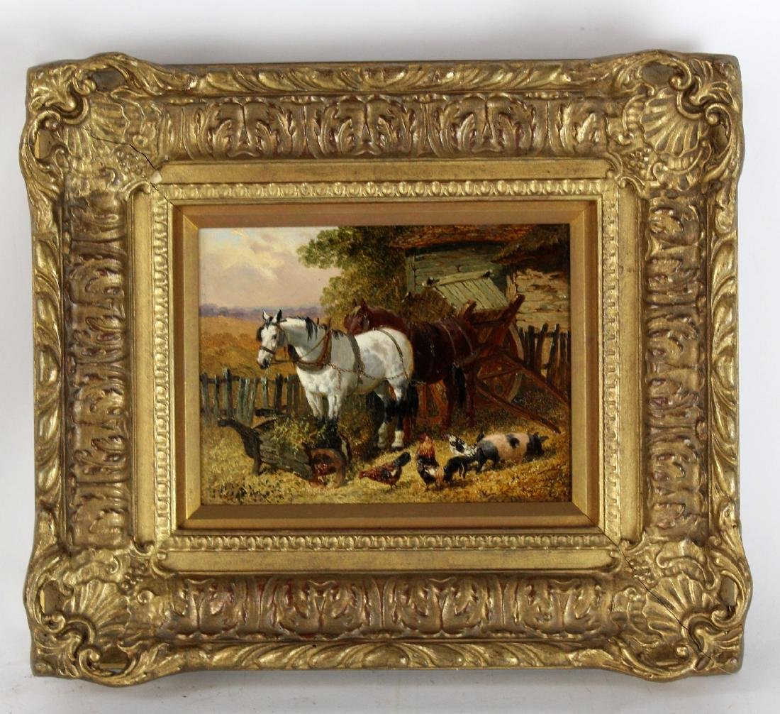 Oil on board pastoral scene with horses