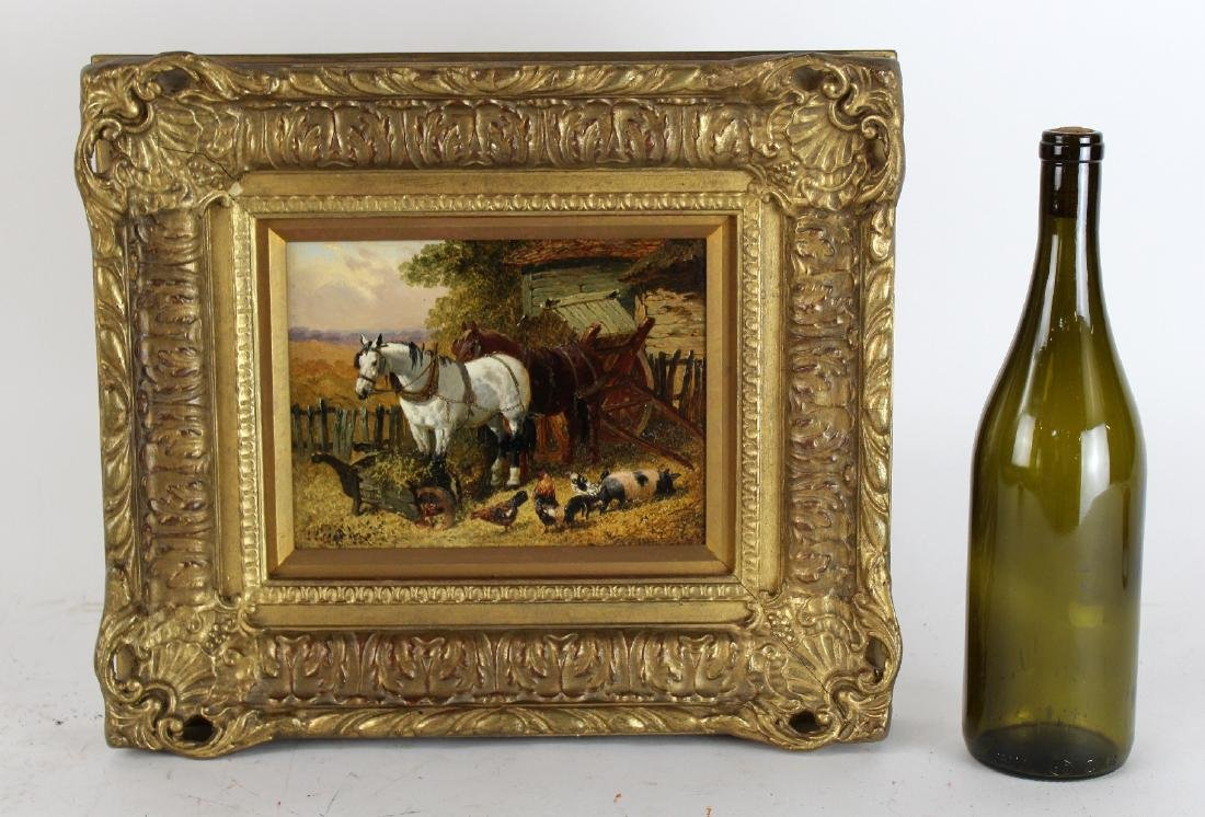 Oil on board pastoral scene with horses - 2