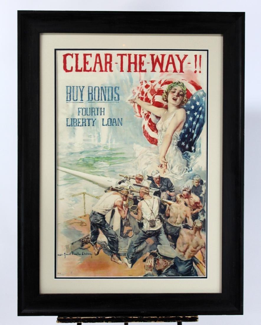 Vintage framed War bonds poster