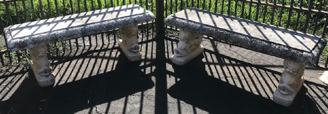 Pair of Italgarden cast stone garden benches