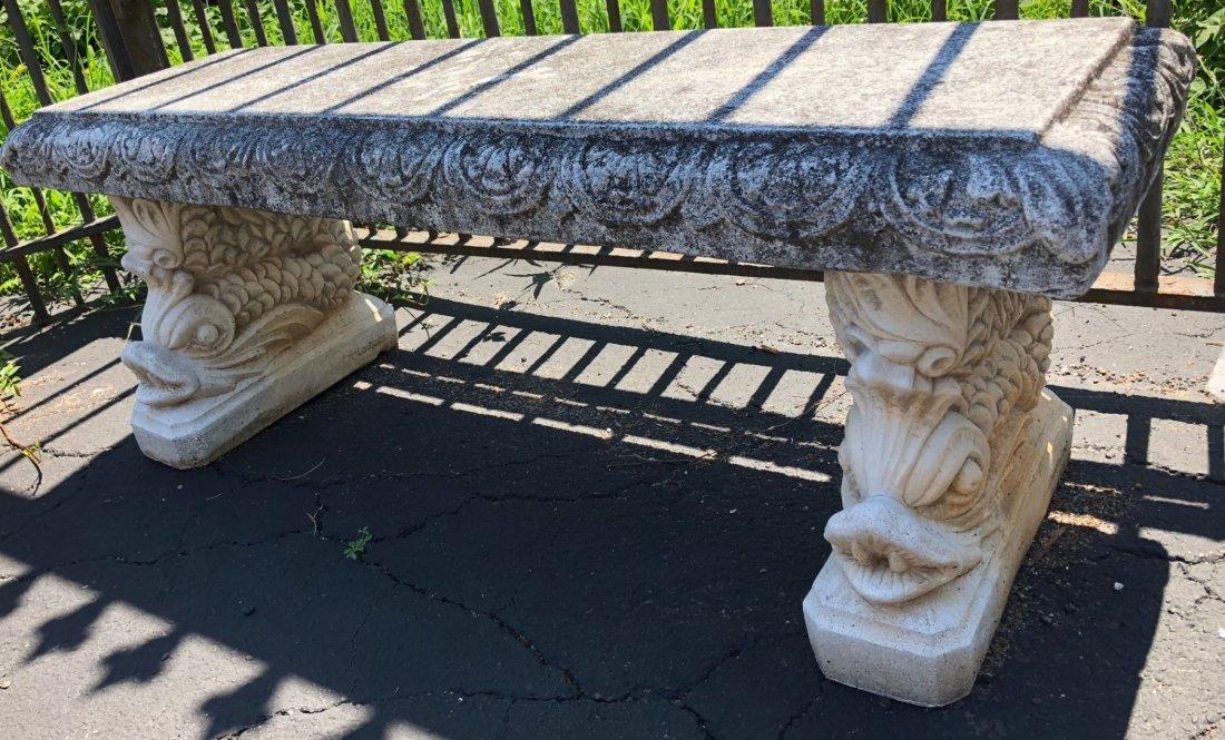 Pair of Italgarden cast stone garden benches - 4