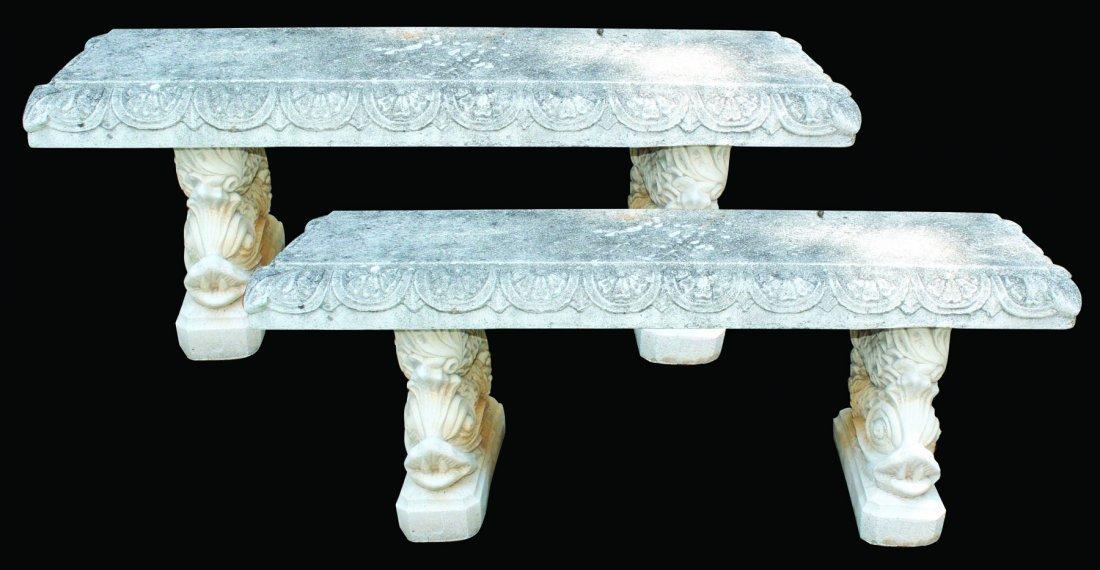 Pair of Italgarden cast stone garden benches - 8