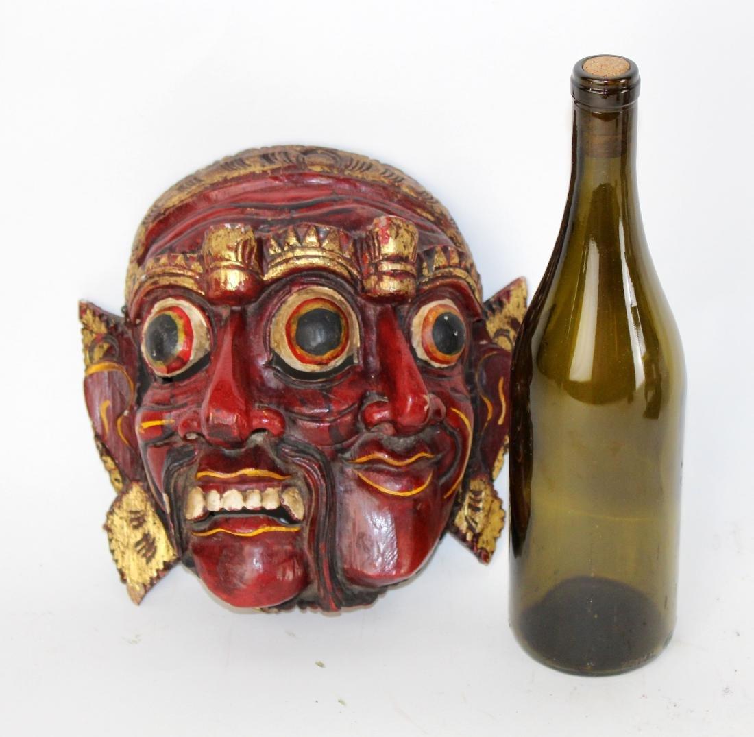 Carved wooden Tibetan mask - 2
