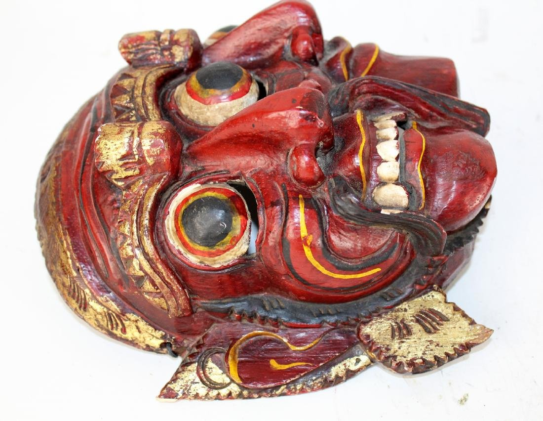 Carved wooden Tibetan mask - 4