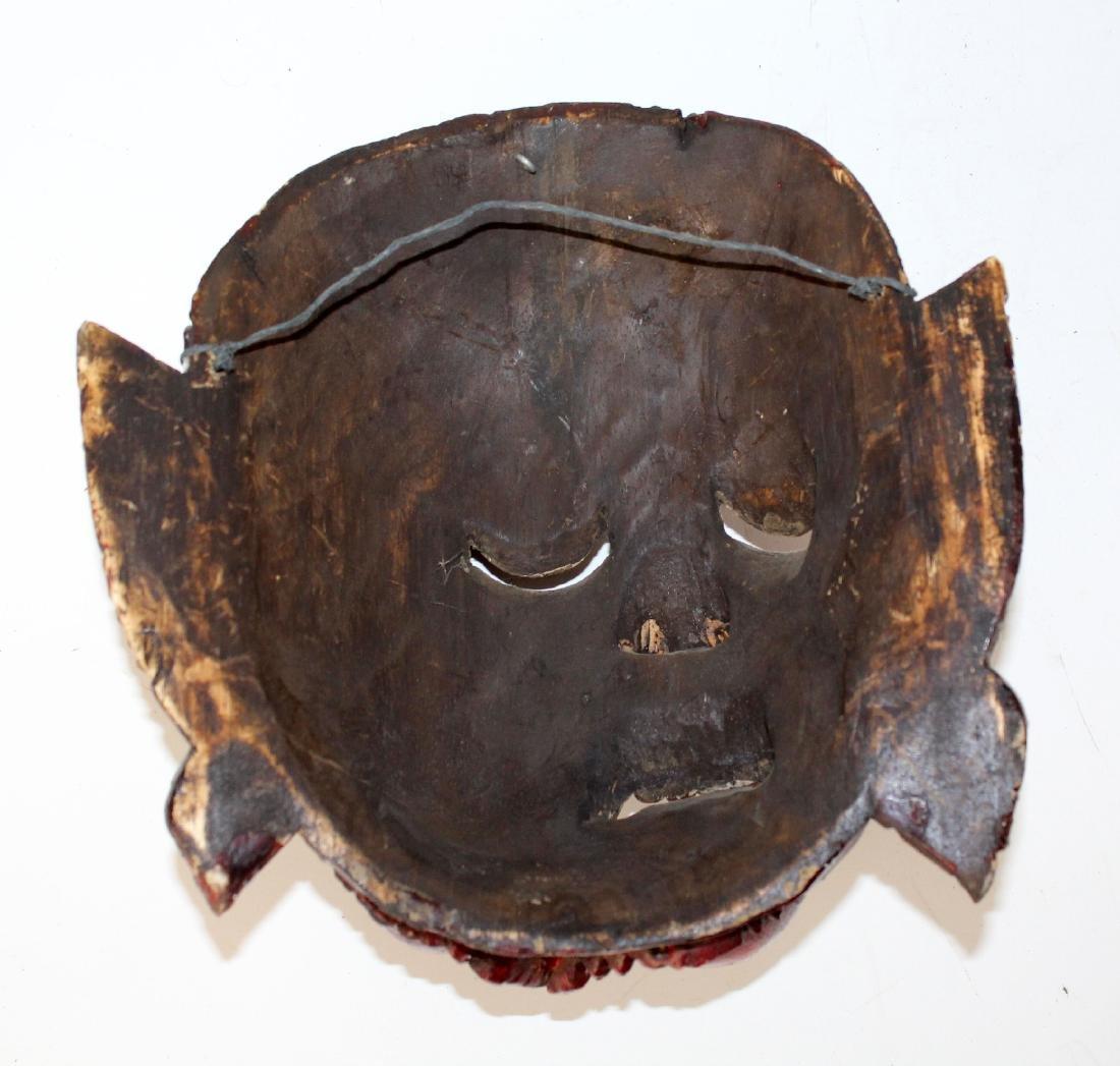 Carved wooden Tibetan mask - 5