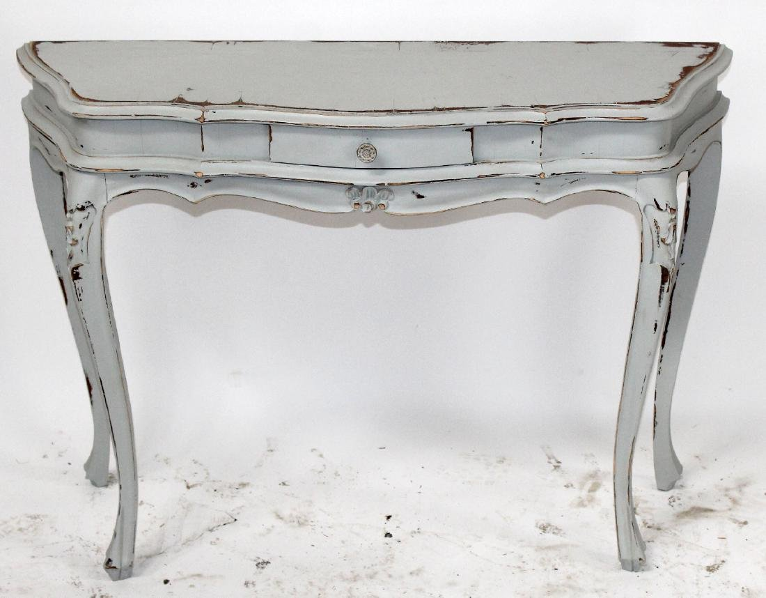 Painted scallop front console table
