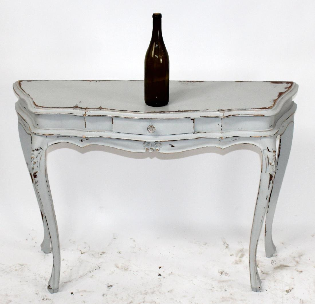 Painted scallop front console table - 2