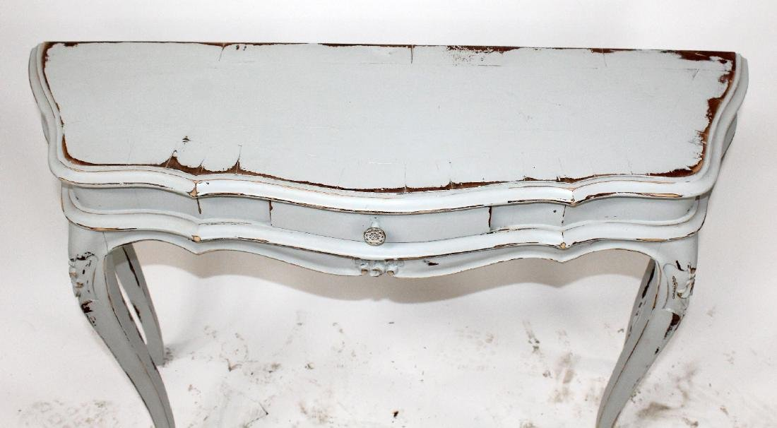 Painted scallop front console table - 3