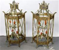 Pair of iron Gothic style lanterns