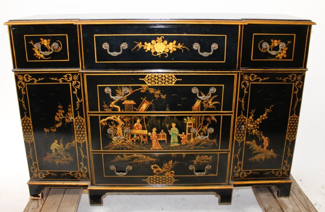 Vintage Chinoiserie Sideboard With Secretary