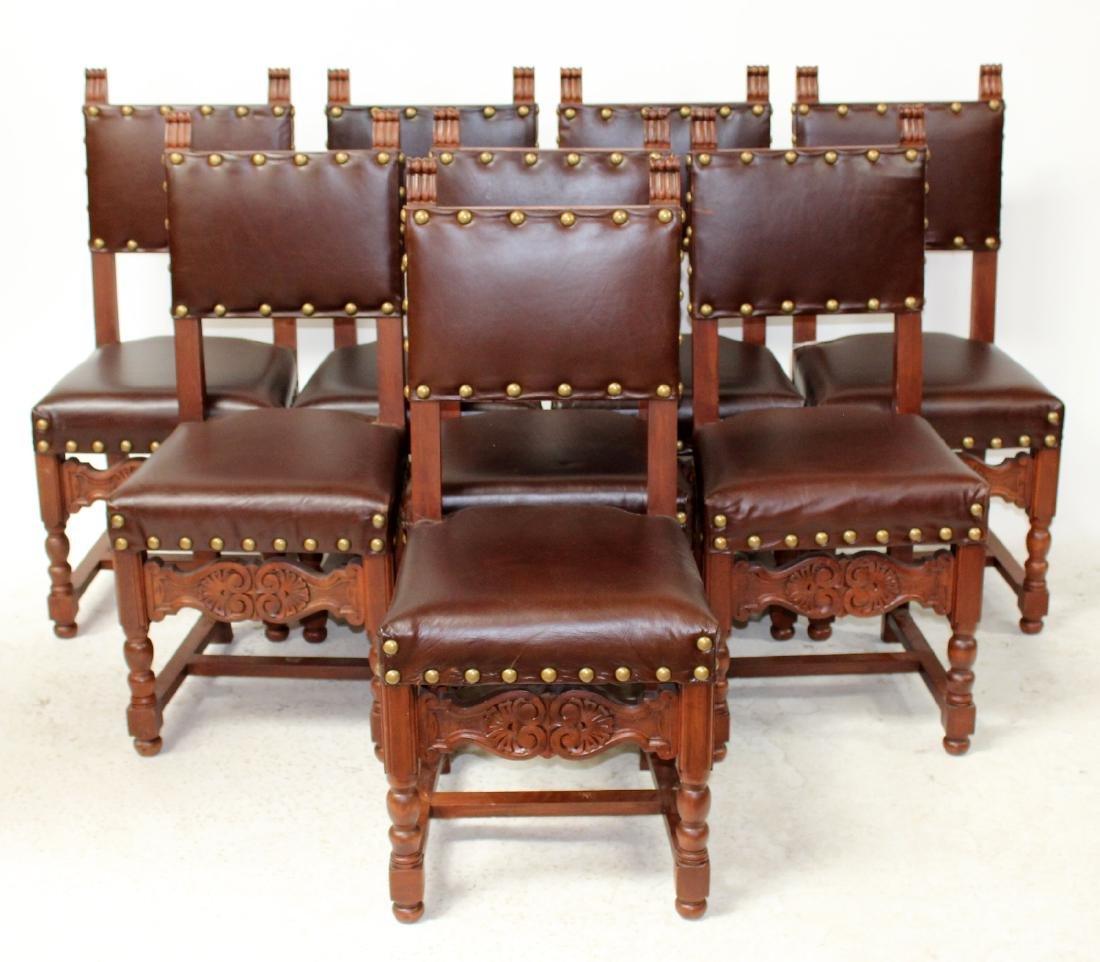 Wondrous Set Of 8 French Walnut Leather Dining Chairs Creativecarmelina Interior Chair Design Creativecarmelinacom