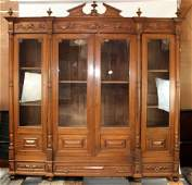 French walnut 4 door bookcase