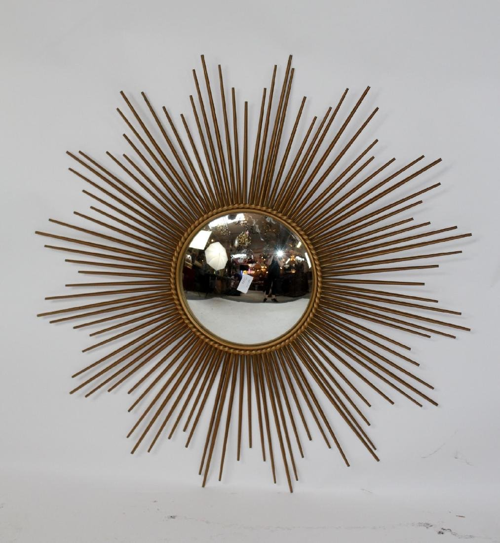 Vintage French gilt metal sunburst mirror - 3