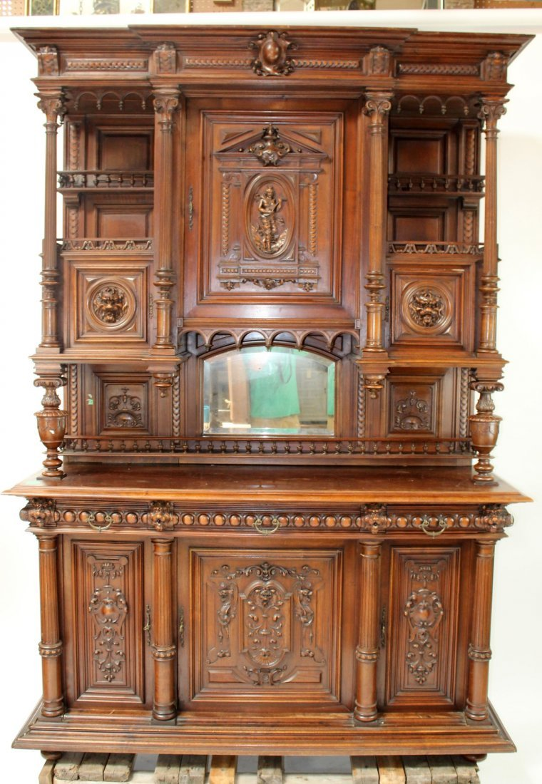 French carved walnut buffet with lion heads - 2