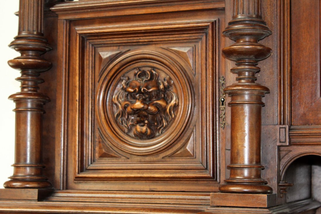 French carved walnut buffet with lion heads - 6
