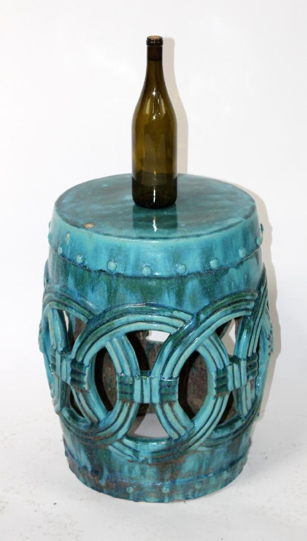 Teal glazed Chinese garden seat - 2