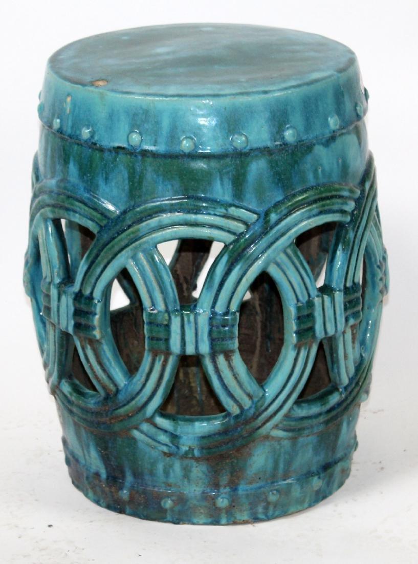 Teal glazed Chinese garden seat - 3