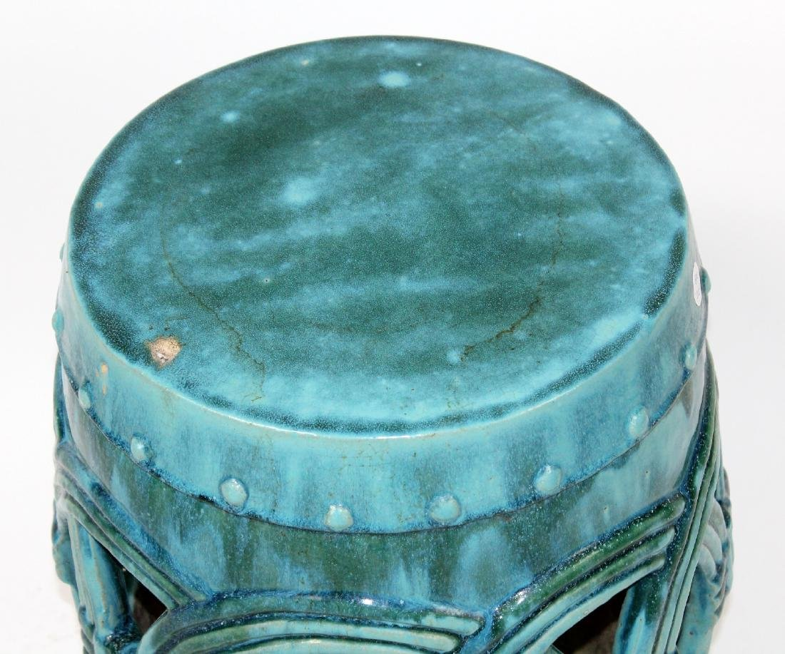 Teal glazed Chinese garden seat - 4