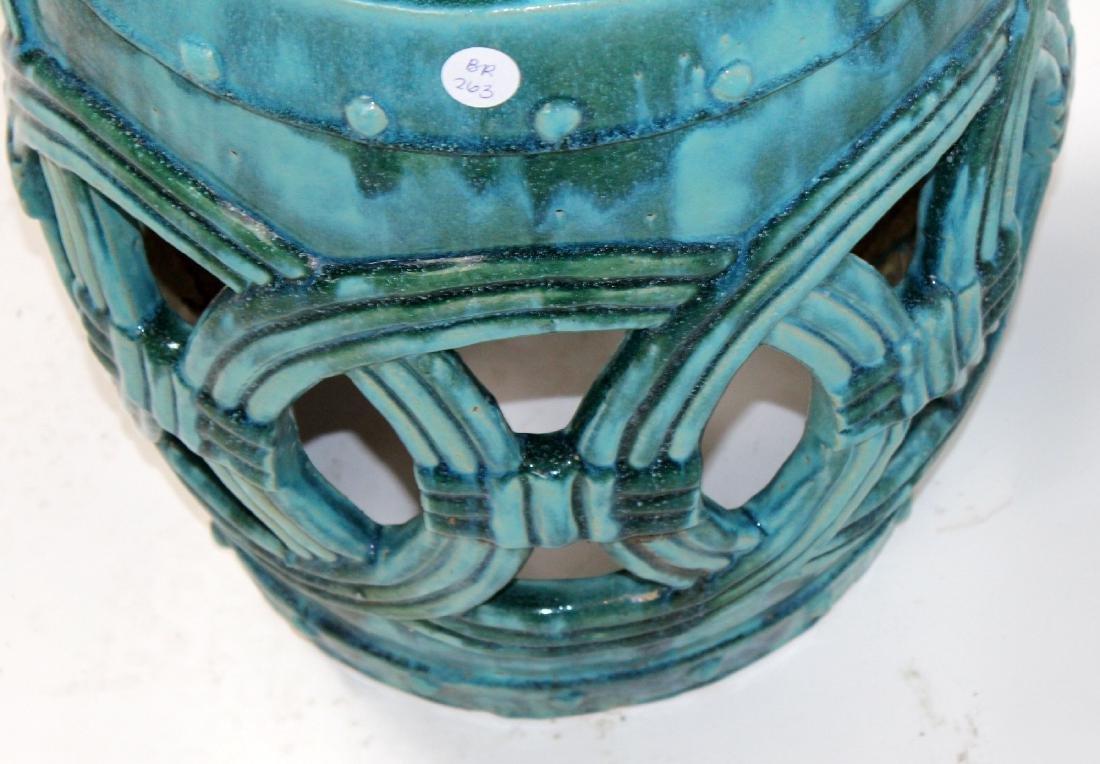 Teal glazed Chinese garden seat - 5