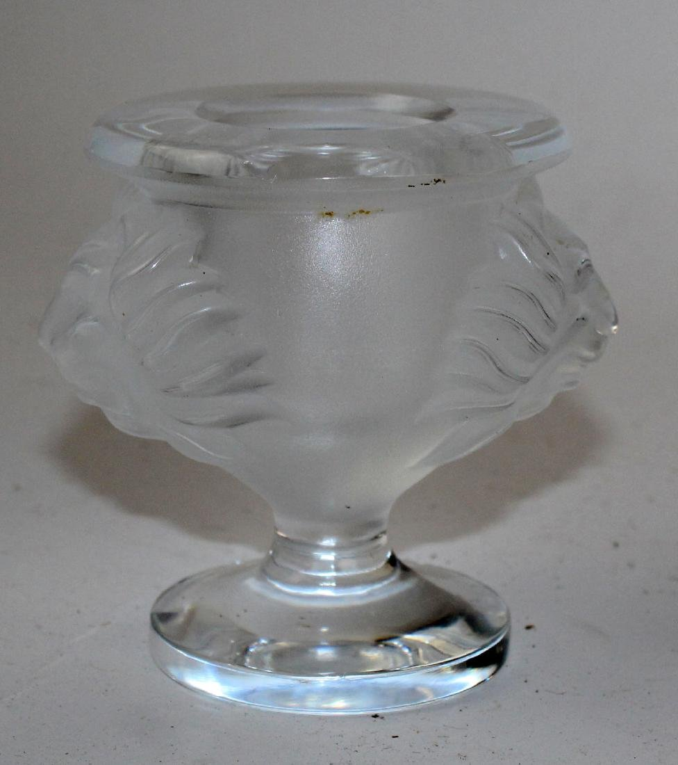 Lalique crystal vase with lion heads