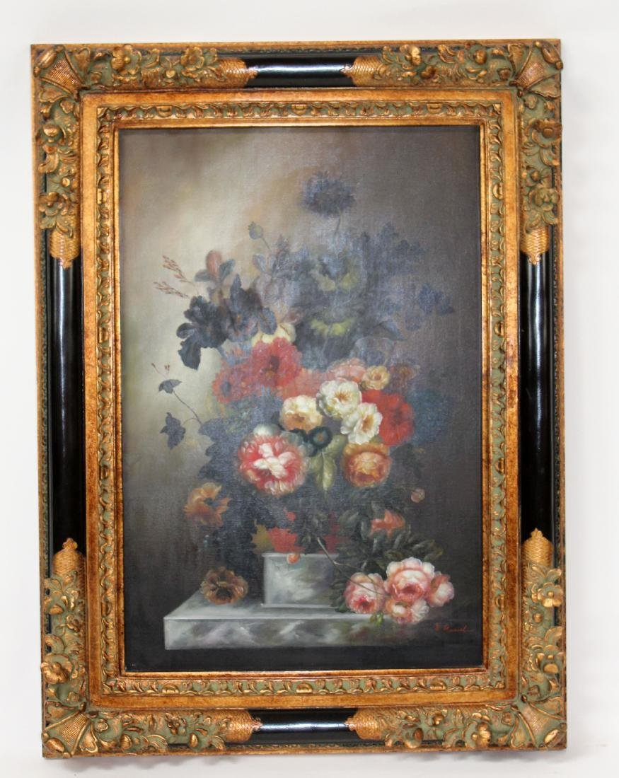 Oil on canvas depicting still life with flowers