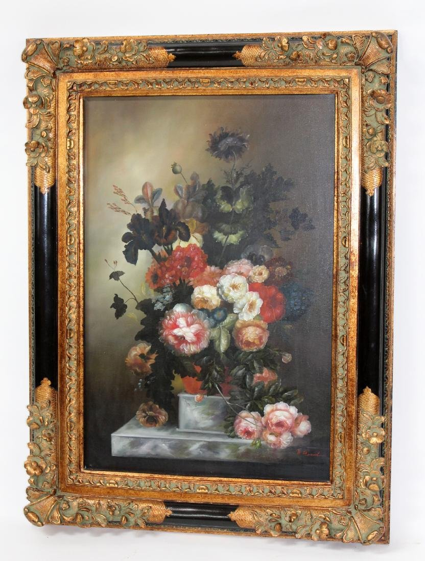 Oil on canvas depicting still life with flowers - 3