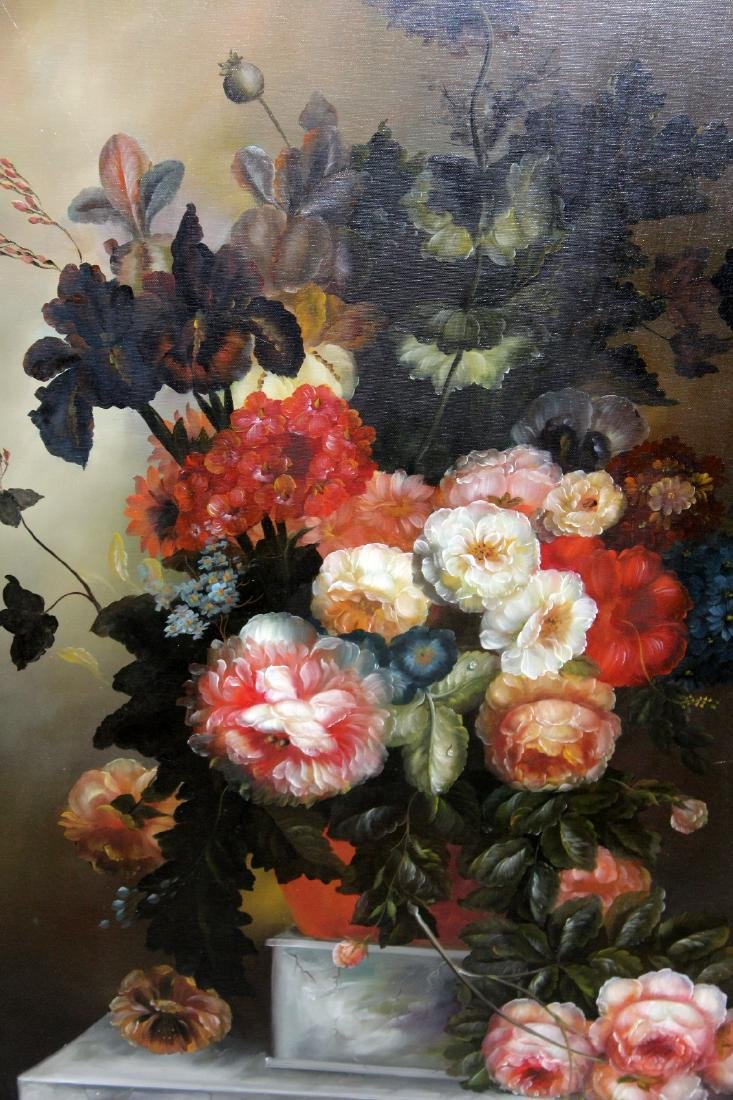 Oil on canvas depicting still life with flowers - 5