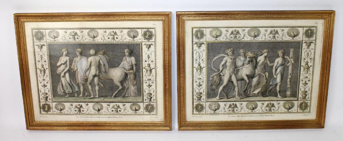 Pair of classical scene hand colored etchings