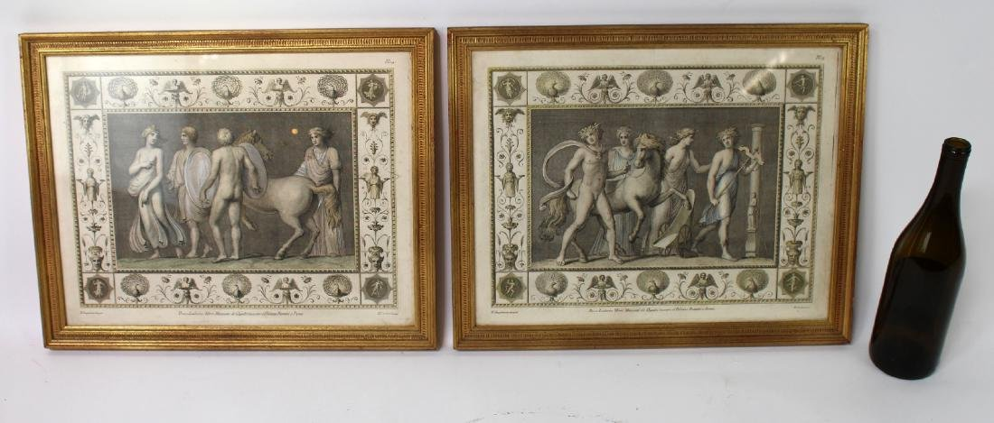Pair of classical scene hand colored etchings - 2